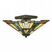 Inglenook Semi-Flush Ceiling Fitting in Valiant Bronze and Tiffany Glass - QUOIZEL QZ/INGLENOOK/SF